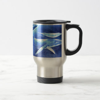 Whale Pod Blue Ocean Travel Mug