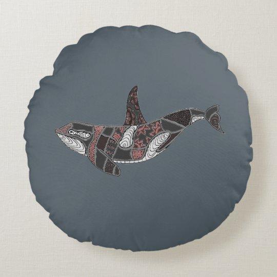 Whale Round Cushion