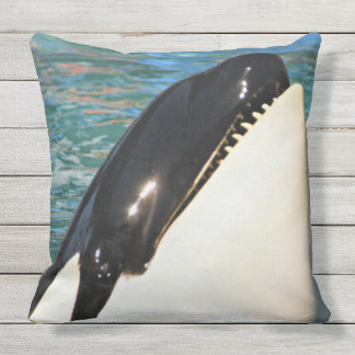Whale Saying Hello Outdoor Cushion