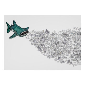 Whale Shark and Plastic Pollution Poster