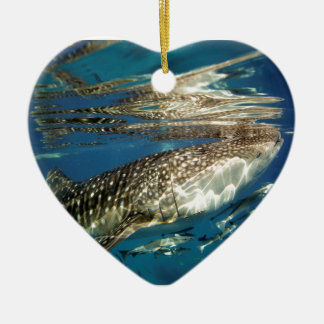Whale shark and remora fish ceramic ornament