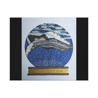 Whale snow globe canvas