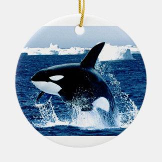 Whale Splash Round Ceramic Decoration