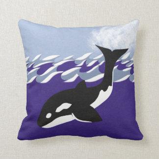 Whale Swimming in the Ocean Whimsical Cartoon Art Cushion