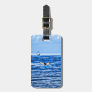 Whale Tail and Boat on the Horizon with Clouds Luggage Tag