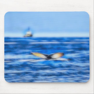 Whale Tail and Ship on the Horizon Mouse Pad