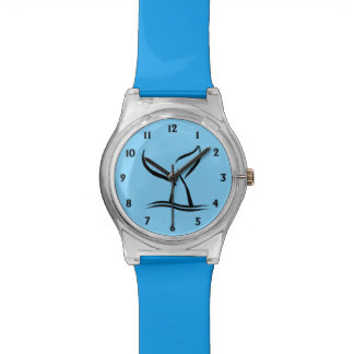 Whale Tail Blue with Black Numbers Wristwatches