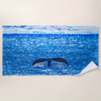 Whale Tail Fractal Blue and Pink Beach Towel