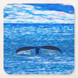 Whale Tail Fractal Blue and Pink Square Paper Coaster