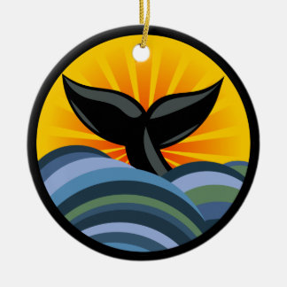 Whale Tail Waves and Sunburst Ornament