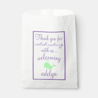 Whale Thank You  Baby Shower Guest Favor Favour Bag