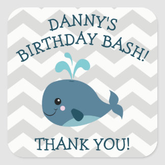 Whale themed Birthday Party Stickers - Blue