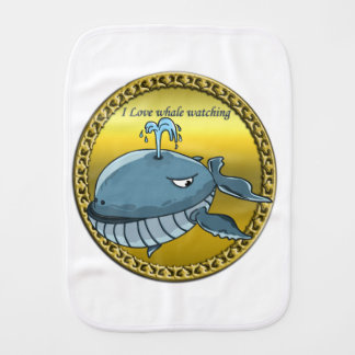 whale watching for giant floating blue whales burp cloth
