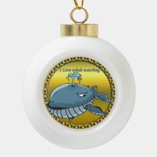 whale watching for giant floating blue whales ceramic ball christmas ornament
