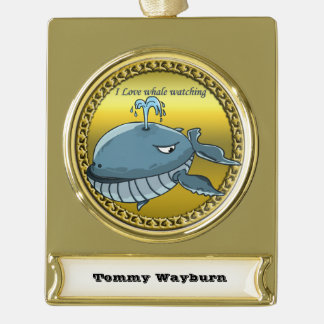 whale watching for giant floating blue whales gold plated banner ornament