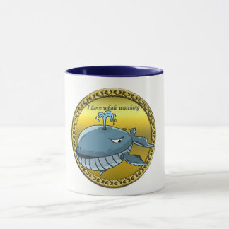 whale watching for giant floating blue whales mug