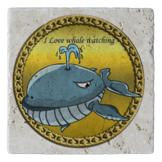 whale watching for giant floating blue whales trivet