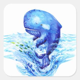 Whale watercolor square sticker