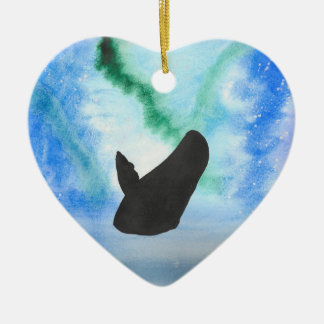 Whale With Northern Lights Ceramic Ornament