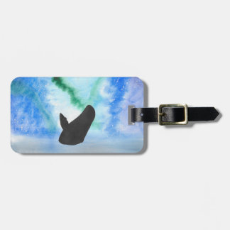 Whale With Northern Lights Luggage Tag