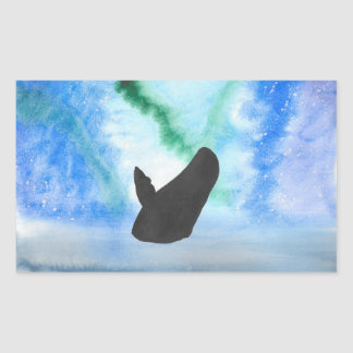 Whale With Northern Lights Rectangular Sticker