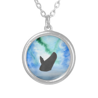 Whale With Northern Lights Silver Plated Necklace