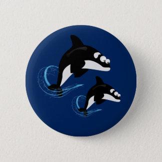 whales 6 cm round badge