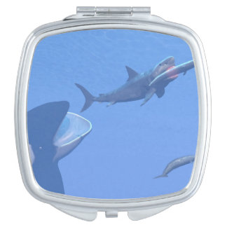 Whales and megalodon underwater - 3D render Compact Mirror