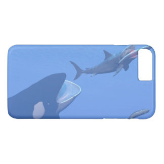 Whales and megalodon underwater - 3D render iPhone 8 Plus/7 Plus Case