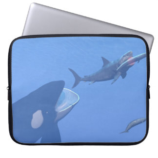Whales and megalodon underwater - 3D render Laptop Sleeve