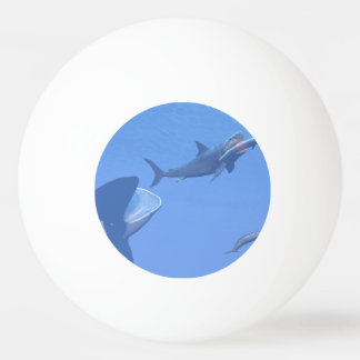 Whales and megalodon underwater - 3D render Ping Pong Ball