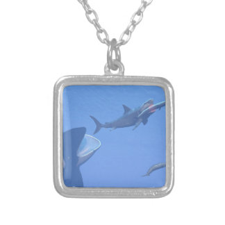 Whales and megalodon underwater - 3D render Silver Plated Necklace