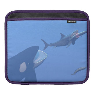 Whales and megalodon underwater - 3D render Sleeves For iPads