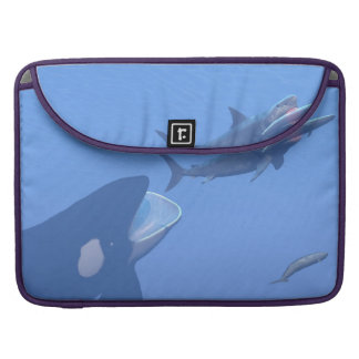 Whales and megalodon underwater - 3D render Sleeves For MacBooks
