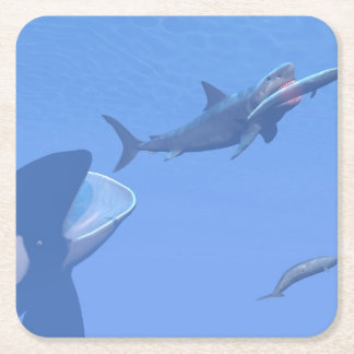 Whales and megalodon underwater - 3D render Square Paper Coaster