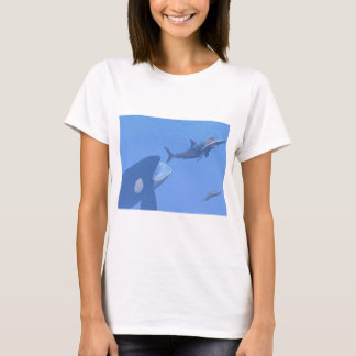 Whales and megalodon underwater - 3D render T-Shirt