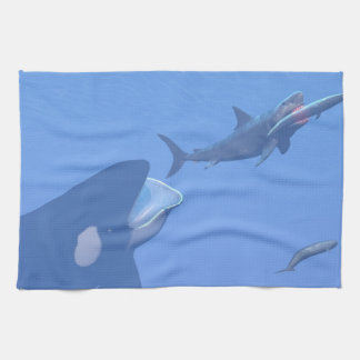 Whales and megalodon underwater - 3D render Tea Towel