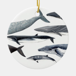 Whales and right whales ceramic ornament