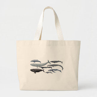 Whales and right whales large tote bag