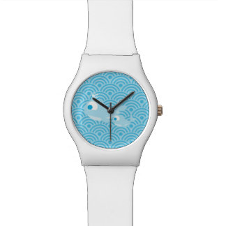 Whales and waves wristwatch