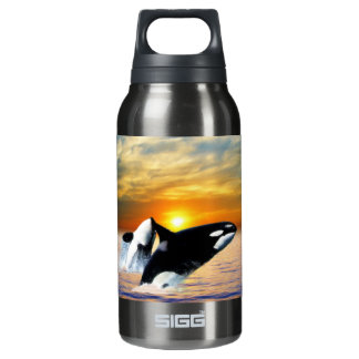 Whales at sunset insulated water bottle