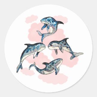 Whales Classic Round Sticker