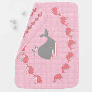 Whales in Pink Baby Blanket
