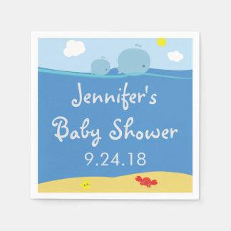 Whales Under the Sea Baby Shower Napkins Disposable Serviette