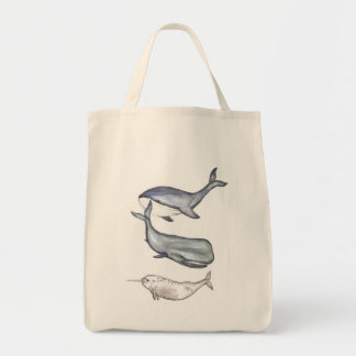 Whales, whale family, jute bag