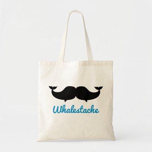 Whalestache Moustache whales Canvas Bags