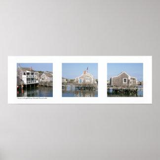 Wharf Scene Nantucket, Massachusetts Triptych Poster