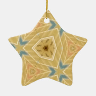What a Good Day Tan Patterned Ceramic Star Decoration