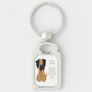 What a Great Dane is Fun Dog Quote Silver-Colored Rectangle Key Ring