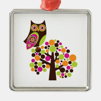 What a Hoot! Silver-Colored Square Decoration